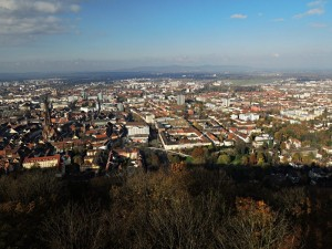 Panorama Freiburgu ze Zámeckého vrchu